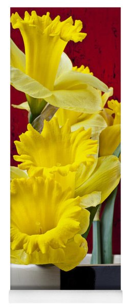 Yellow Daffodils In Checkered Vase Yoga Mat