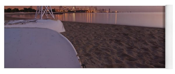 Beach And Chicago Skyline Yoga Mat