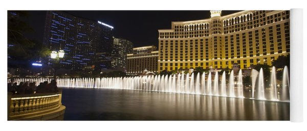 Bellagio Fountain In Las Vegas At Night Yoga Mat