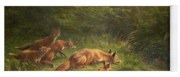 Foxes Waiting For The Prey   Yoga Mat