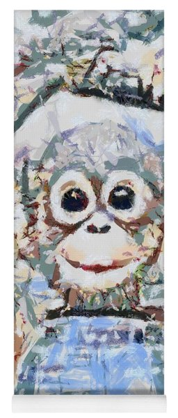 Monkey Rainbow Splattered Fragmented Blue Yoga Mat