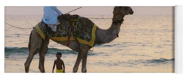 Little Boy Stares In Amazement At A Camel Riding On Marina Beach In Dubai, United Arab Emirates -  Yoga Mat