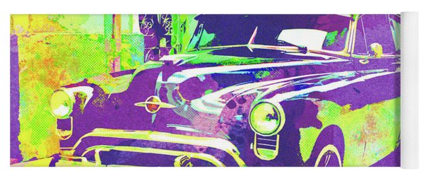 Abstract Watercolor - Havana Cuba Classic Car I Yoga Mat