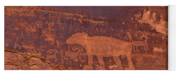 Ancient Native American Petroglyphs On A Canyon Wall Near Moab. Yoga Mat