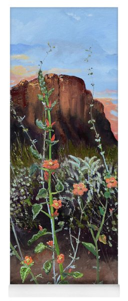 Yoga Mat featuring the painting Arizona Desert Flowers-dwarf Indian Mallow by Jan Dappen