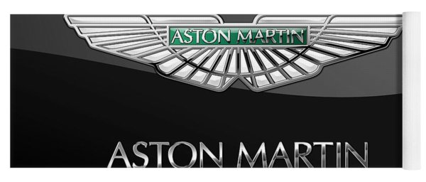 Aston Martin 3 D Badge On Black  Yoga Mat
