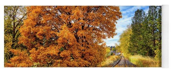 Autumn Leaves On The Tracks Yoga Mat