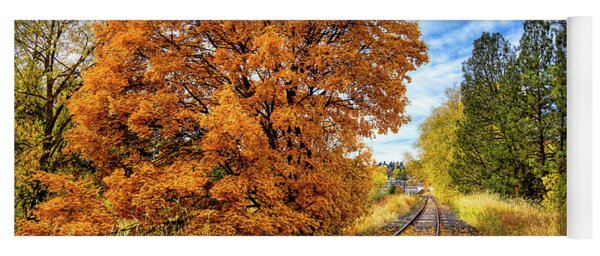 Autumn Leaves On The Tracks Yoga Mat