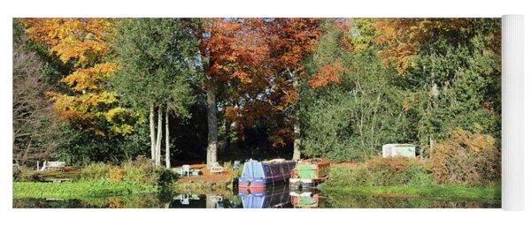 Autumn Reflections Wey Canal Surrey Uk Yoga Mat