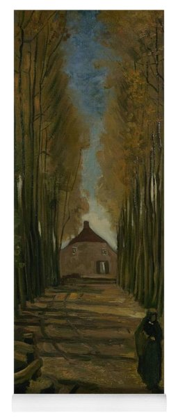 Yoga Mat featuring the painting Avenue Of Poplars In Autumn Nuenen, October 1884 Vincent Van Gogh 1853 - 1890 by Artistic Panda