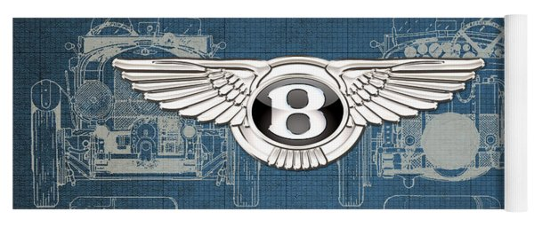 Bentley - 3 D Badge Over 1930 Bentley 4.5 Liter Blower Vintage Blueprint Yoga Mat