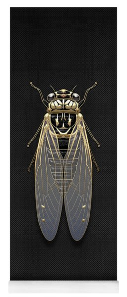Black Cicada With Gold Accents On Black Canvas Yoga Mat