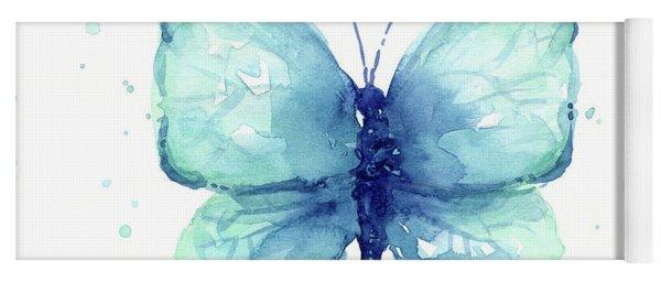 Blue Butterfly Watercolor Yoga Mat