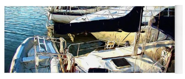 Boats In The Water Yoga Mat