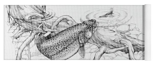 Brown Trout Pencil Study Yoga Mat