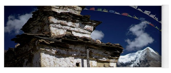 Buddhist Gompa And Prayer Flags In The Himalaya Mountains, Nepal Yoga Mat