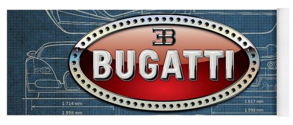 Bugatti 3 D Badge Over Bugatti Veyron Grand Sport Blueprint  Yoga Mat