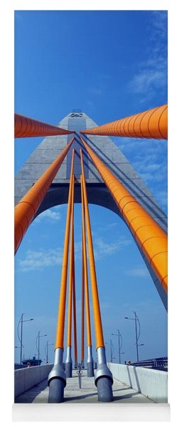 Cable Stayed Bridge With Orange Clad Cables Yoga Mat