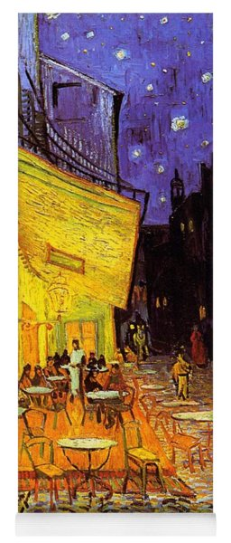 Yoga Mat featuring the painting Cafe Terrace At Night by Van Gogh