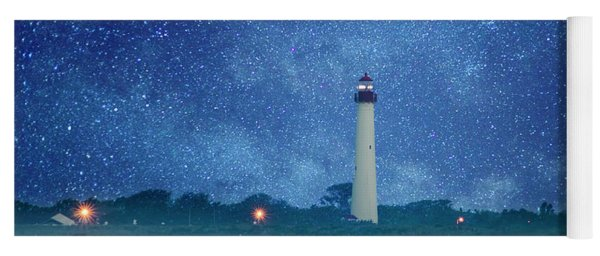 Yoga Mat featuring the photograph Cape May Lighthouse At Night by Bill Cannon