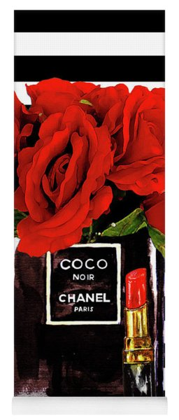 Chanel Perfume With Red Roses Yoga Mat
