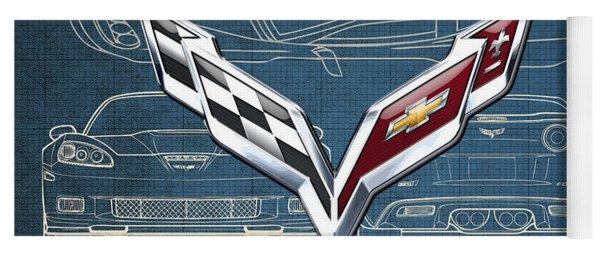 Chevrolet Corvette 3 D Badge Over Corvette C 6 Z R 1 Blueprint Yoga Mat