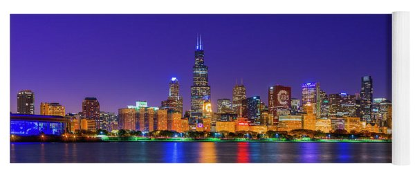 Chicago Skyline With Cubs World Series Lights Night, Lake Michigan, Chicago, Cook County, Illinois Yoga Mat