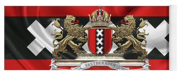 Coat Of Arms Of Amsterdam Over Flag Of Amsterdam Yoga Mat