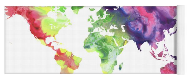 Panoramic map yoga mats fine art america colorful watercolor world map yoga mat gumiabroncs Gallery