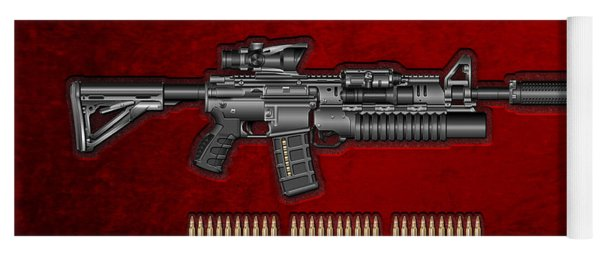 Colt  M 4 A 1  S O P M O D Carbine With 5.56 N A T O Rounds On Red Velvet  Yoga Mat