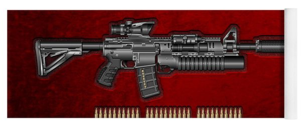 Colt  M 4 A 1  S O P M O D Carbine With 5.56 N A T O Rounds On Red Velvet  Yoga Mat