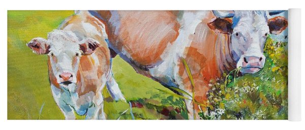 Cow And Calf Painting Yoga Mat