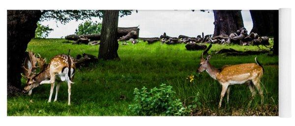 Deer In The Park Yoga Mat