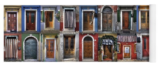 doors and windows of Burano - Venice Yoga Mat