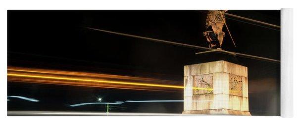 Drake's Statue Traffic Trails Iv Yoga Mat