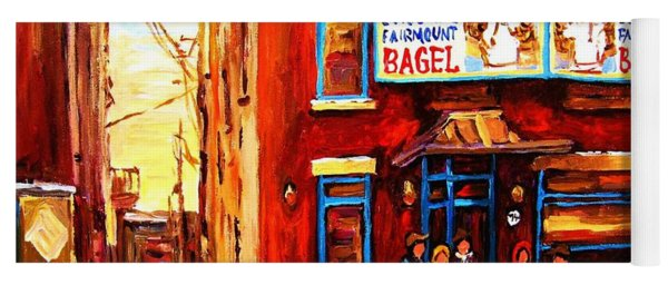 Fairmount Bagel In Winter Yoga Mat