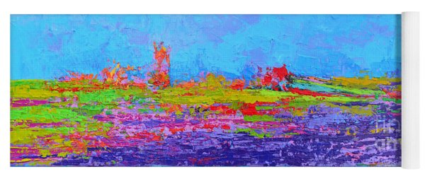 Field Of Flowers Modern Abstract Landscape Painting - Palette Knife Work Yoga Mat