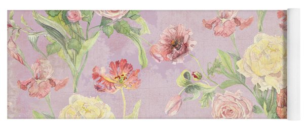 Fleurs De Pivoine - Watercolor In A French Vintage Wallpaper Style Yoga Mat