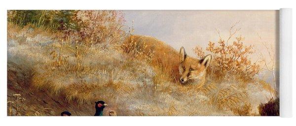 Fox And Pheasants In Winter Yoga Mat