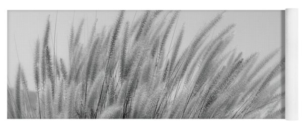 Foxtails On A Hill In Black And White Yoga Mat