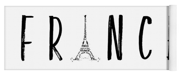 France Typography Panoramic Yoga Mat