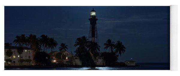 Full Moon Over Hillsboro Lighthouse In Pompano Beach Florida Yoga Mat
