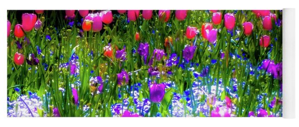 Garden Flowers With Tulips Yoga Mat