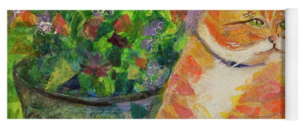 Ginger With Flowers Yoga Mat