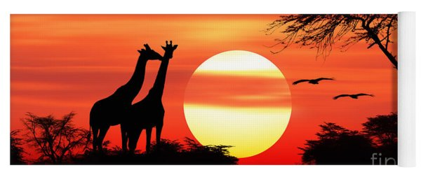 Giraffes At Sunset Yoga Mat