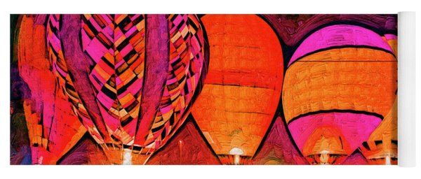 Glowing Hot Air Balloons In Abstract Yoga Mat