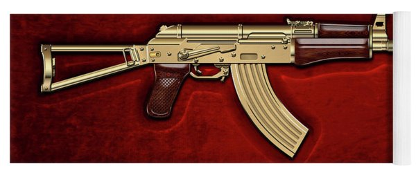 Gold A K S-74 U Assault Rifle With 5.45x39 Rounds Over Red Velvet   Yoga Mat