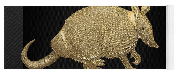 Gold Armadillo On Black Canvas Yoga Mat