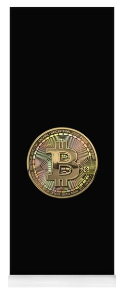Gold Bitcoin Effigy Over Black Canvas Yoga Mat