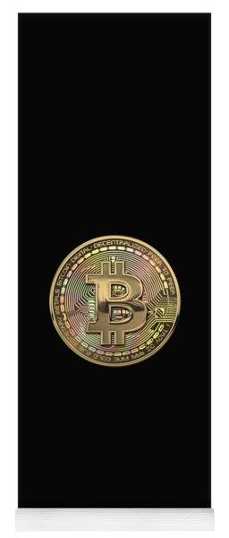 Gold Bitcoin Effigy Over Black Canvas Yoga Mat